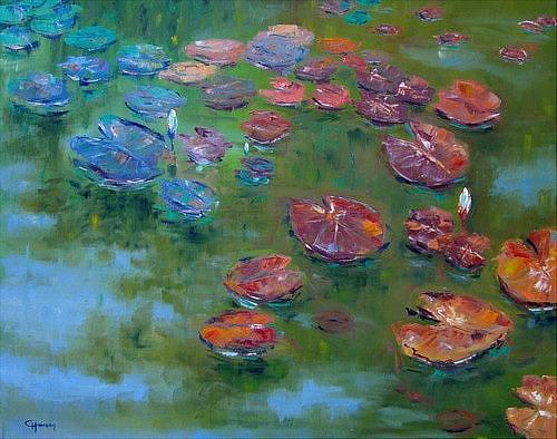 Claudia Hansen, Seerosenteich, Natur: Wasser, Pflanzen: Blumen, Neo-Impressionismus, Expressionismus