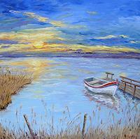 Claudia-Hansen-Romantik-Sonnenuntergang-Landschaft-See-Meer-Moderne-Impressionismus-Postimpressionismus