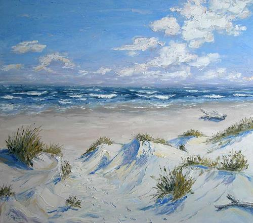 Claudia Hansen, Nordsee Dünen, Landschaft: See/Meer, Landschaft: Sommer, Postimpressionismus, Expressionismus