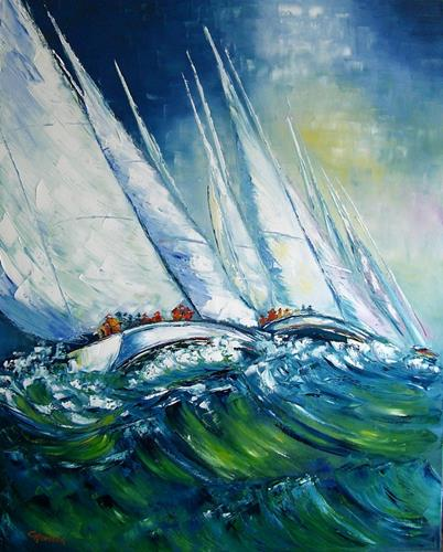 Claudia Hansen, Mainsail - Segel-Regatta II, Sport, Landschaft: See/Meer, Postimpressionismus
