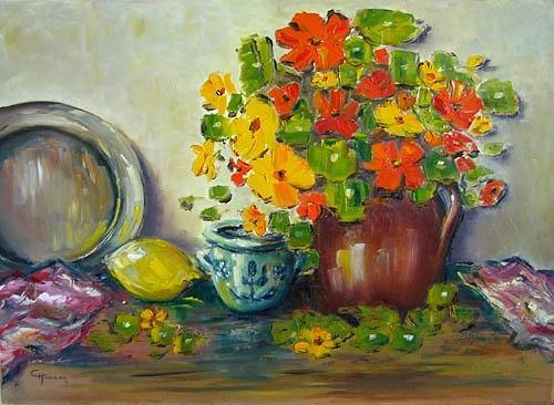 Claudia Hansen, Stilleben mit Kapuzinerkresse, Stilleben, Pflanzen: Blumen, Land-Art