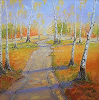 Claudia Hansen, Herbstlandschaft mit Birken