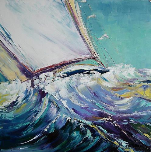 Claudia Hansen, Segelboot auf stürmischer See, Landschaft: See/Meer, Landschaft: Sommer, Postimpressionismus, Abstrakter Expressionismus