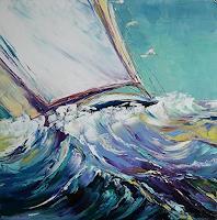 C. Hansen, Segelboot auf stürmischer See