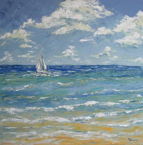 Claudia Hansen, Sailing Away, Landschaft: See/Meer, Landschaft: Sommer, Postimpressionismus