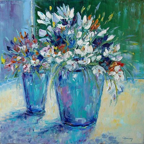 Claudia Hansen, Frühlingsblumen, Pflanzen: Blumen, Stilleben, Postimpressionismus