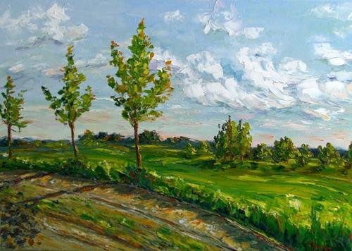 Claudia Hansen, Sommertag II, Landschaft: Sommer, Pflanzen: Bäume, Postimpressionismus, Expressionismus