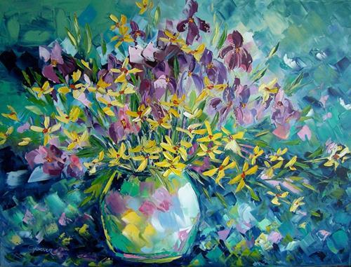 Claudia Hansen, Blumenrausch mit Iris, Pflanzen: Blumen, Stilleben, Postimpressionismus