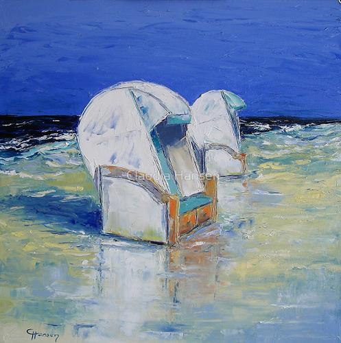 Claudia Hansen, Strandkörbe im Wattenmeer, Landschaft: See/Meer, Landschaft: Strand, Postimpressionismus