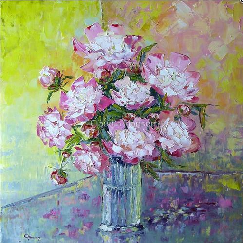 Claudia Hansen, Pfingstrosen, Pflanzen: Blumen, Stilleben, Postimpressionismus