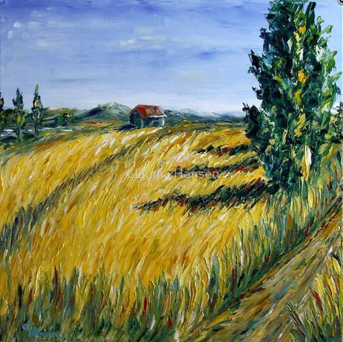 Claudia Hansen, Kornfeld mit Zypressen, Landschaft: Sommer, Pflanzen: Bäume, Postimpressionismus