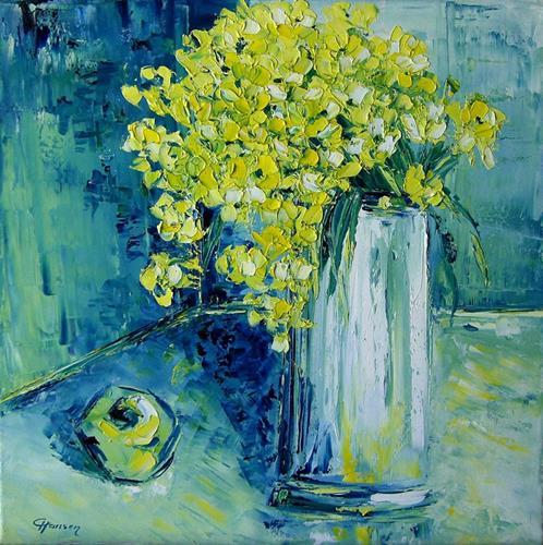 Claudia Hansen, Stillleben mit grünem Apfel, Pflanzen: Blumen, Stilleben, Postimpressionismus, Expressionismus