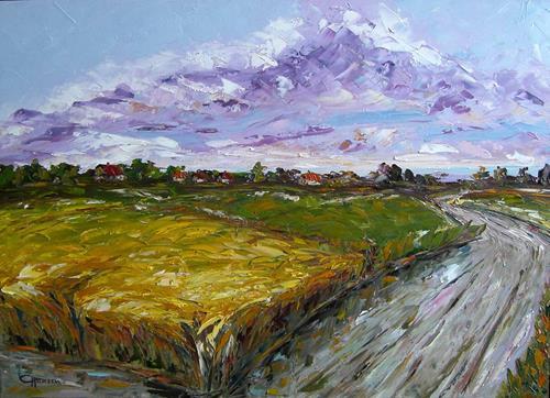 Claudia Hansen, Herbstlandschaft, Landschaft: Herbst, Landschaft: Ebene, Postimpressionismus, Expressionismus