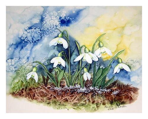 Maria Inhoven, Schneeglöckchen1, Pflanzen: Blumen, Zeiten: Frühling, Naturalismus