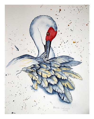 Maria Inhoven, Kranich Studie, Tiere: Luft, Natur: Luft, Naturalismus
