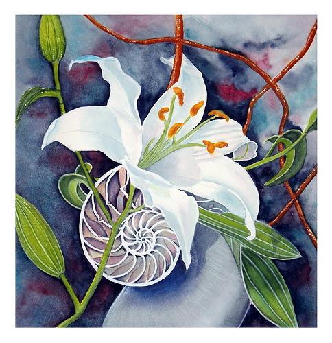 Maria Inhoven, Lilie und Nautilus, Stilleben, Pflanzen: Blumen, Naturalismus, Expressionismus