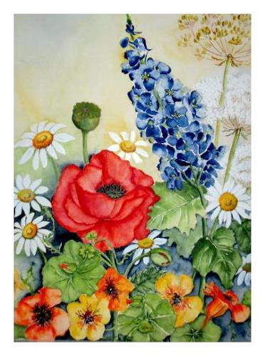 Maria Inhoven, Sommer im Garten, Pflanzen: Blumen, Natur: Erde, Neuzeit