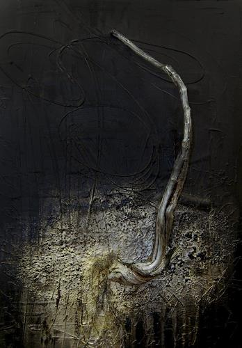 Nele Kugler, der Nachtbaum, Abstraktes, Natur: Wald, Abstrakte Kunst, Abstrakter Expressionismus