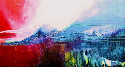 Nele Kugler, der Morgen über den Wassern, Abstraktes, Landschaft: See/Meer, Abstrakte Kunst