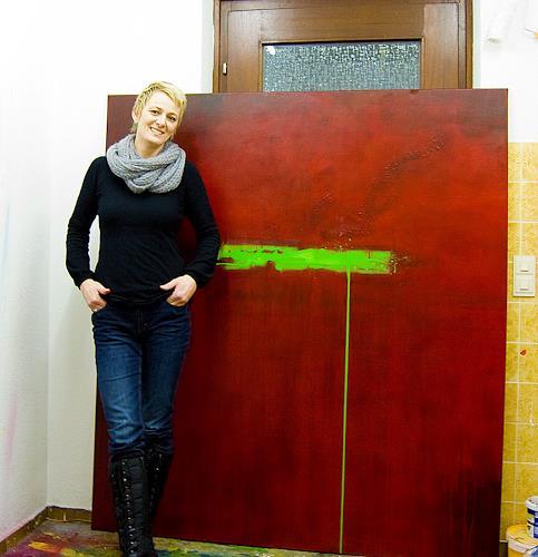 Nele Kugler, green mile - bleeding, Abstraktes, Abstraktes, Gegenwartskunst