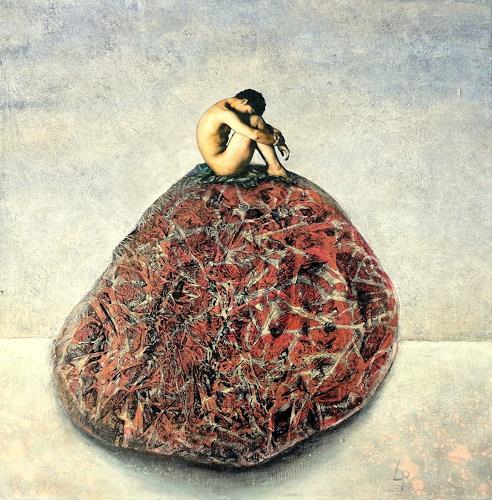 Gerda Lipski, ich saß auf einem Steine....., Akt/Erotik: Akt Mann, Natur: Gestein, Abstrakter Expressionismus