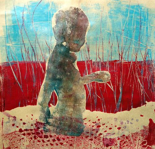 """Gerda Lipski, Monotypie """"Junge2, Menschen: Kinder, Abstrakter Expressionismus"""