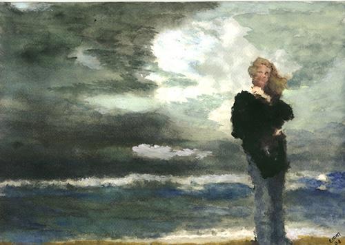 Eva-Maria Müller, Nur das Rauschen des Windes, Landschaft: See/Meer, Menschen: Frau, Impressionismus, Abstrakter Expressionismus