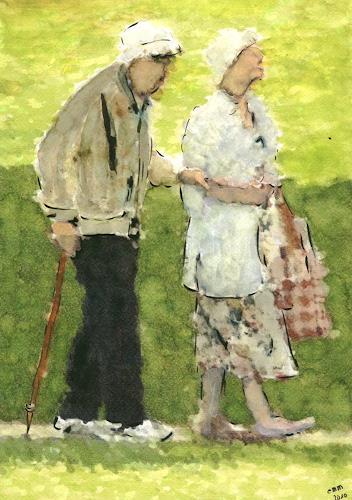 Eva-Maria Müller, Gestützt und beschützt, Menschen: Paare, Gefühle: Liebe, Impressionismus