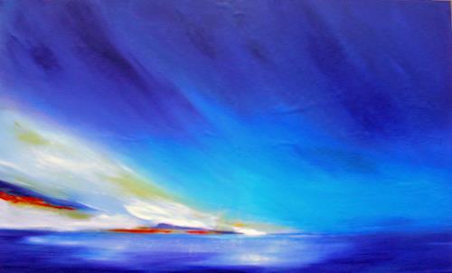 Ute Kleist, Himmelwärts, Romantik: Sonnenuntergang, Landschaft: See/Meer, Gegenwartskunst, Expressionismus