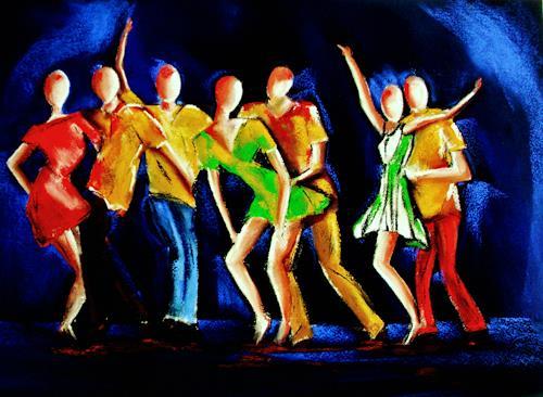 Ute Kleist, Night Fever, Menschen: Gesichter, Diverse Musik, Gegenwartskunst, Abstrakter Expressionismus