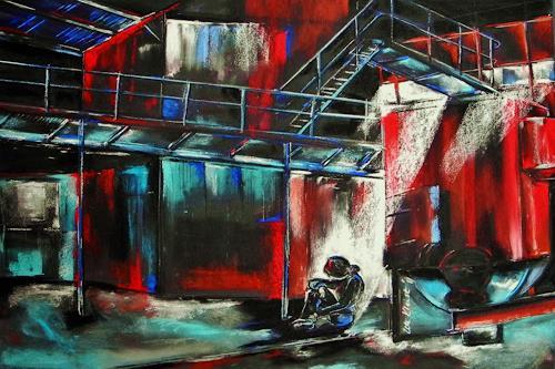 Ute Kleist, verlassen, Architektur, Situationen, Gegenwartskunst, Abstrakter Expressionismus