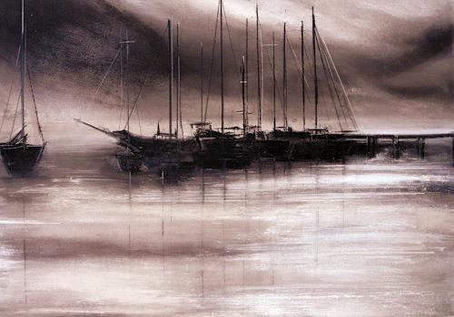 Ute Kleist, Stimme des Windes, Poesie, Landschaft: See/Meer, Gegenwartskunst, Expressionismus