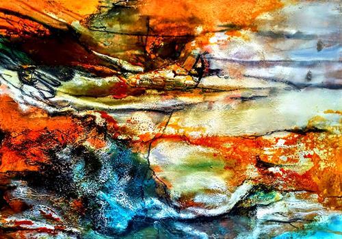 Ute Kleist, Schimmel in der Bügelfalte, Landschaft, Gefühle, Expressionismus