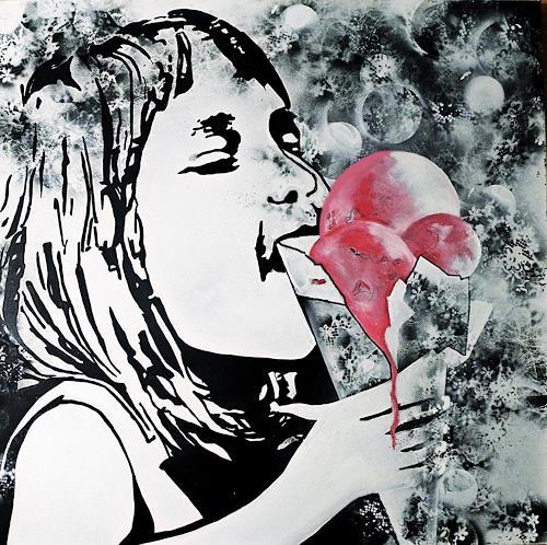 Ute Kleist, H(I)MMMBEEREIS, Gefühle: Freude, Zeiten: Sommer, Pop-Art, Abstrakter Expressionismus