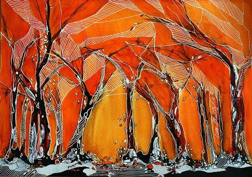 Ute Kleist, Die Blätter fallen, Natur, Poesie, Expressionismus