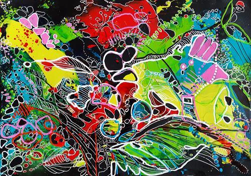 Ute Kleist, EIN SOMMERNACHTSTRAUM II, Natur, Gefühle, Expressionismus, Abstrakter Expressionismus