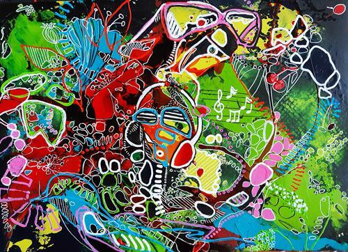 Ute Kleist, EIN SOMMERNACHTSTRAUM III, Natur, Gefühle, Expressionismus, Abstrakter Expressionismus