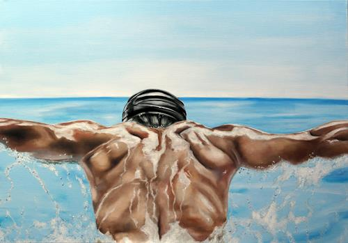 Alex Krull, o.T. (Delfin), Menschen: Mann, Sport, Realismus