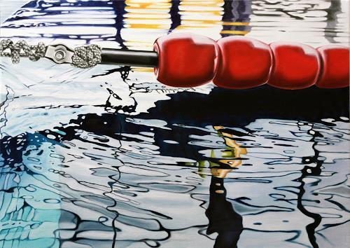 Alex Krull, o.T. (Schwimmleine rot), Sport, Natur: Wasser, Realismus, Expressionismus