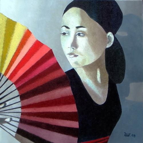 Ulla Wobst, Der rote Fächer/The red fan, Gesellschaft, Dekoratives, Neue Figurative Malerei, Expressionismus
