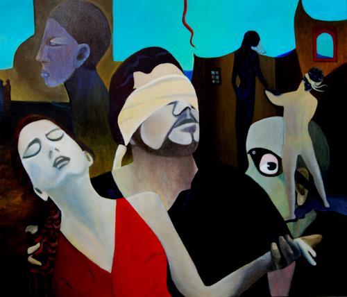Ulla Wobst, Orpheus and Eurydike fooling  fortune, Mythologie, Menschen: Paare, Neue Figurative Malerei, Abstrakter Expressionismus