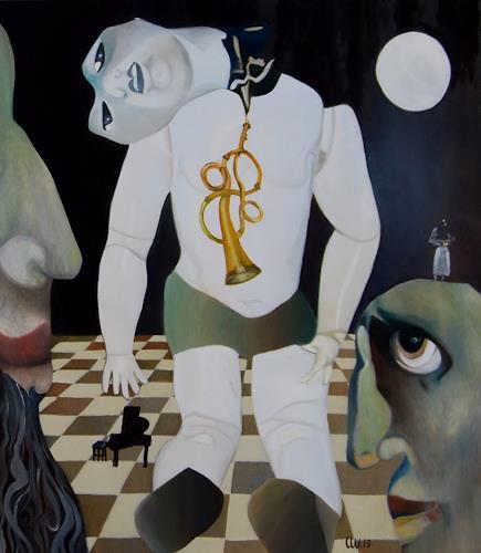 Ulla Wobst, Song of a broken doll, Fantasie, Situationen, Neue Figurative Malerei, Abstrakter Expressionismus