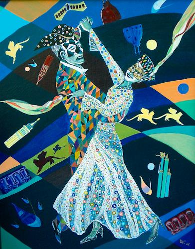 Ulla Wobst, VENETIAN  WALTZ, Bewegung, Party/Feier, Symbolismus, Expressionismus