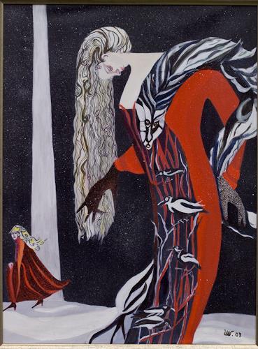 Ulla Wobst, Flatterhaft / Infidel, Menschen: Frau, Diverses, Neue Figurative Malerei, Abstrakter Expressionismus