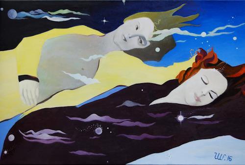 Ulla Wobst, FLOATING THROUGH THE UNIVERSE, Weltraum, Bewegung, Neue Figurative Malerei