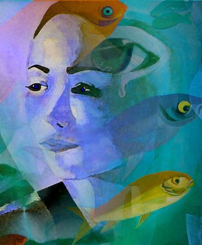 Ulla Wobst, CONSOLING THE RIVERGOD, Diverses, Fantasie, Gegenwartskunst, Expressionismus
