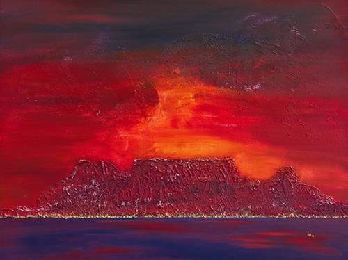 Ingrid TROLP, Sonnenuntergang über Kapstadt, Romantik: Sonnenuntergang, Landschaft: Strand