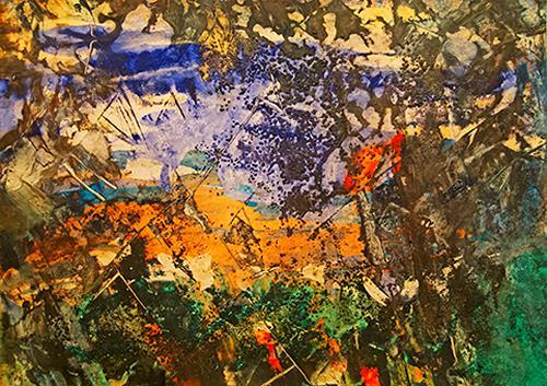 Ingrid TROLP, God's Window-Fenster zum Licht, Landschaft: Berge, Natur: Erde, Abstrakter Expressionismus