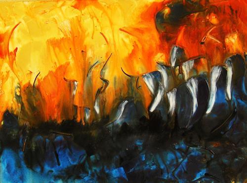Ingrid TROLP, Sturmfischer, Natur: Wasser, Abstraktes, Abstrakter Expressionismus
