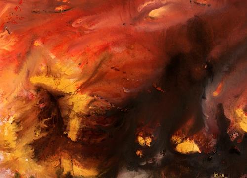 Ingrid TROLP, Die Erde bricht auf, Natur: Erde, Natur: Feuer, Gegenwartskunst, Abstrakter Expressionismus